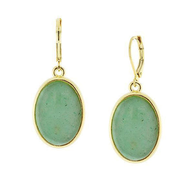 14K Gold-Dipped Gemstone Aventurine Oval Drop Earrings