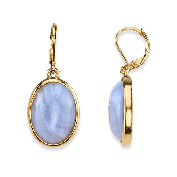 14K Gold Dipped Oval Gemstone Drop Earrings