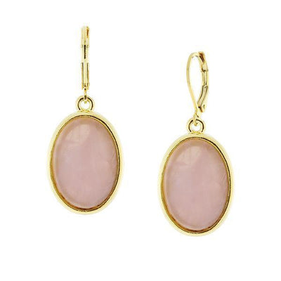 14K Gold-Dipped Gemstone Rose Quartz Pink Oval Drop Earrings