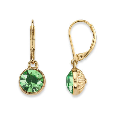 Green 14K Gold-Dipped Round Swarovski Crystal Element Faceted Drop Earrings
