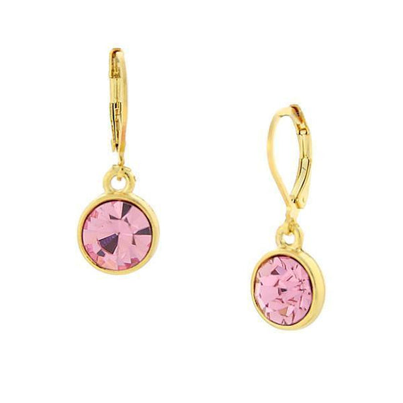 14K Gold-Dipped Lt. Rose Pink Faceted Drop Earrings