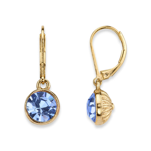 14K Gold Dipped Light Sapphire Faceted Drop Earrings
