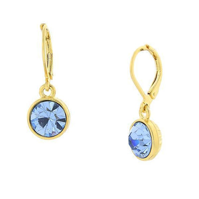 14K Gold-Dipped Lt. Sapphire Blue Faceted Drop Earrings