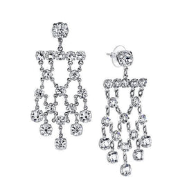 Silver Tone Genuine Swarovski Crystal Chandelier Earrings