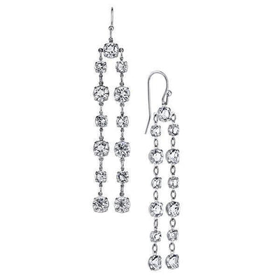 Silver Tone Genuine Swarovski Elements Linear Drop Earrings