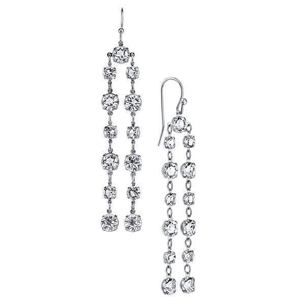 Silver-Tone Genuine Swarovski Elements Linear Drop Earrings