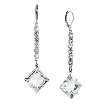 Silver Tone Genuine Swarovski Crystal Diamond Shape Drop Linear Earrings