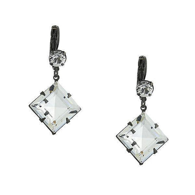 Black Tone Genuine Swarovski Crystal Diamond Shape Drop Earrings
