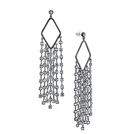Fashion Jewelry - Black Tone Genuine Swarovski Crystal Tassel Statement Earrings