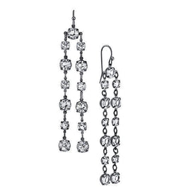 Black-Tone Genuine Swarovski Elements Linear Drop Earrings