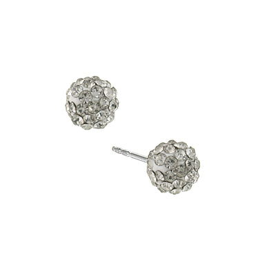 Silver Tone Pave Crystal 6 Mm Stud Earrings