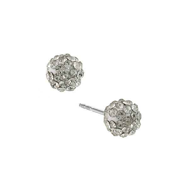 Silver-Tone Pave Crystal 6 Mm Stud Earrings