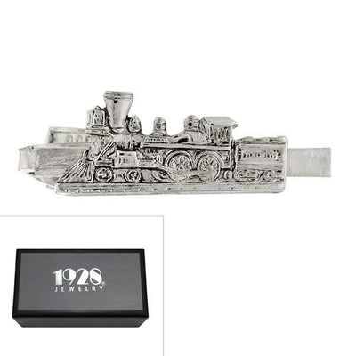 1928 Jewelry: 1928 Jewelry - Silver-Tone Train Tie Clip