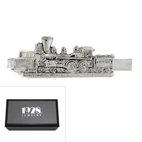 Silver Tone Train Tie Bar Clip