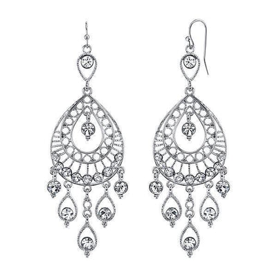 Crystal Filigree Teardrop Earrings