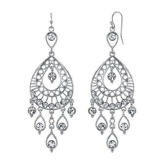 Silver-Tone Crystal Filigree Teardrop Earrings