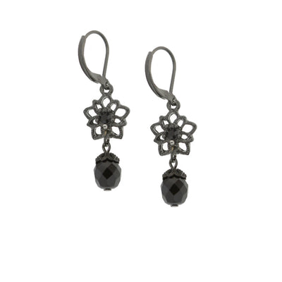 Schwarz-Tone Black Flower Beaded Drop Leverback Ohrringe