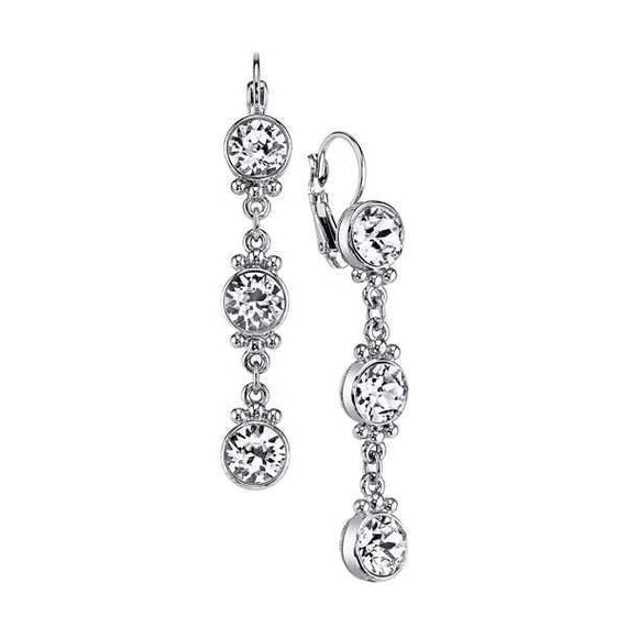 Silver Tone Round Crystal Linear Drop Earrings