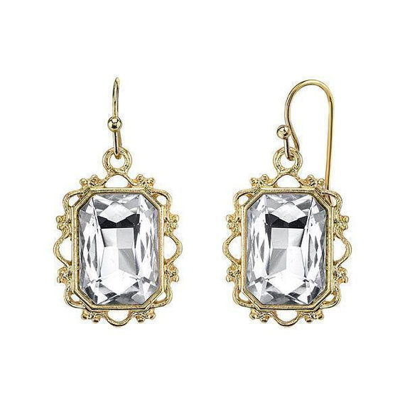 Gold-Tone Crystal Rectangle Faceted Drop Earrings