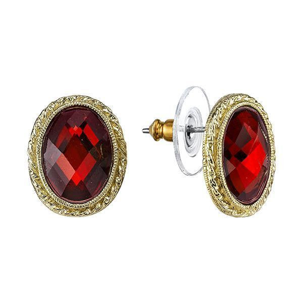 Red Bouquet Gold Tone Red Oval Stud Earrings