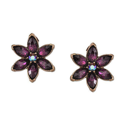 Burnished Copper-Tone Amethyst Purple Color Flower Button Earrings