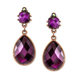 Burnished Copper-Tone Amethyst Purple Color Square Top Pearshape Drop Earrings