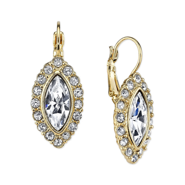 Gold Tone Crystal Navette Leverback Earrings