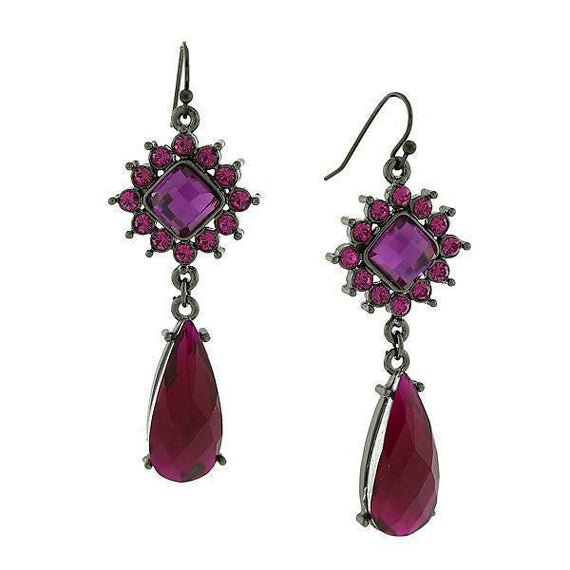 Black-Tone Fuschia and Amethyst Purple w/ AB Accent Teardrop Earrings