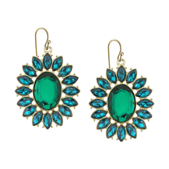 Gold-Tone Emerald Green Faceted Oval w/ Navette Accent Drop Earrings