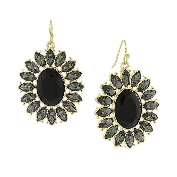 Gold-Tone Jet Black Faceted Oval w/ Navette Accent Drop Earrings