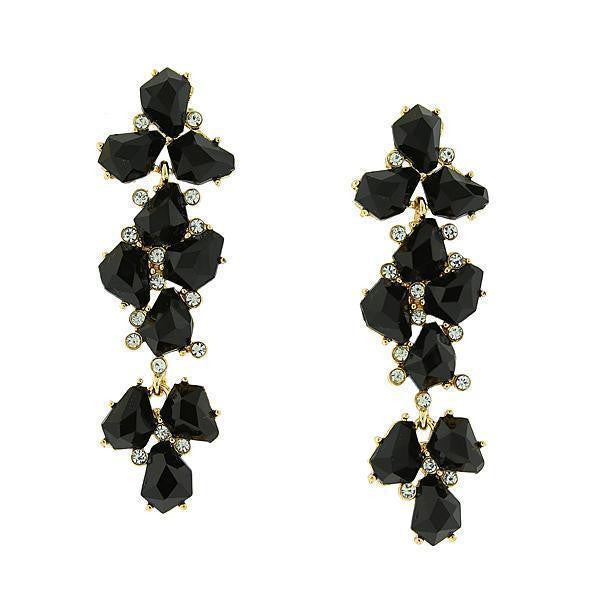 Gold Tone Jet Black W/ Crystal Accent Linear Earrings