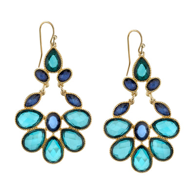 Gold Tone Blue Zircon And Blue Sapphire Drop Earrings