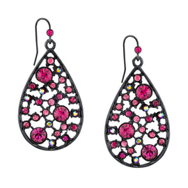 Black-Tone Fuchsia and Lt. Red AB Rose Pearshape Drop Earrings