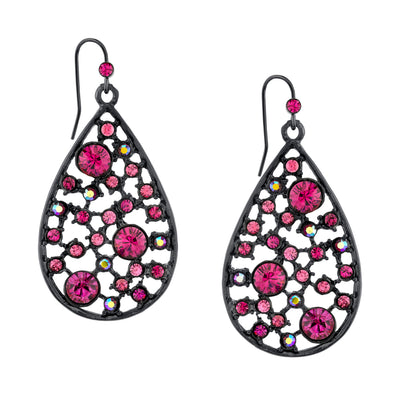 Black Tone Fuchsia And Lt. Red Ab Rose Pearshape Drop Earrings