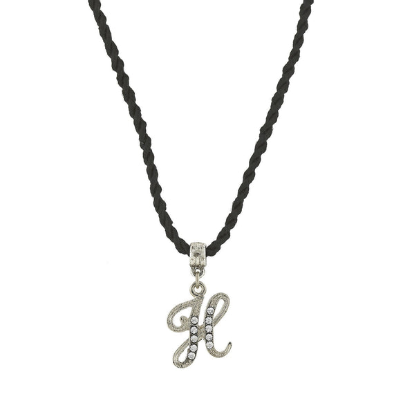 1928 Jewelry: 1928 Jewelry - Black Chord Silver-Tone Crystal Initial  H  Necklace  14 Adj.