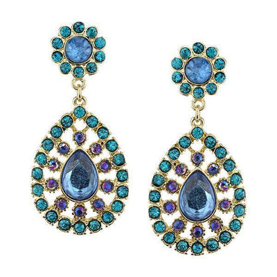Gold Tone Blue Zircon And Blue Sapphire Ab Large Pearshape Drop Earrings