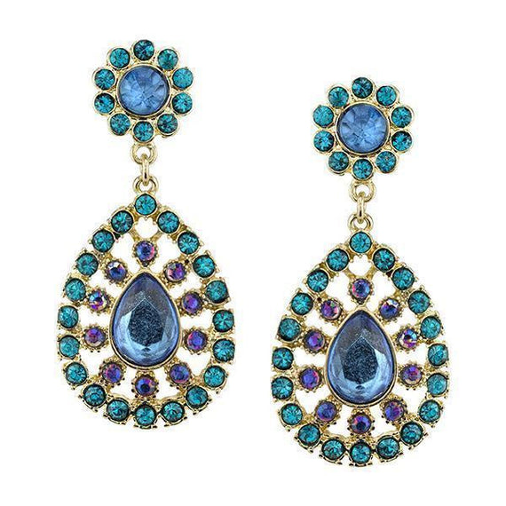 Gold-Tone Blue Zircon and Blue Sapphire AB Large Pearshape Drop Earrings