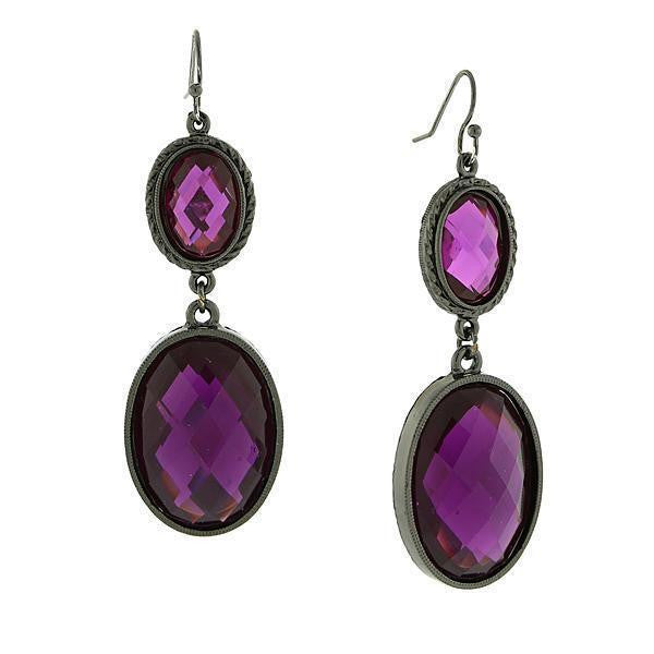 Black-Tone Amethyst Purple Faceted Oval Drop Earrings