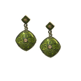 Gold-Tone Green and Light Brown Enamel Drop Earrings