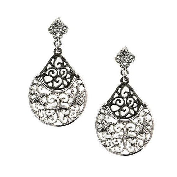 Silver-Tone Jet Filigree Drop Earrings
