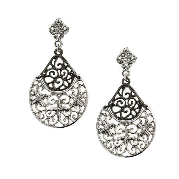 Silver Tone Jet Filigree Drop Earrings