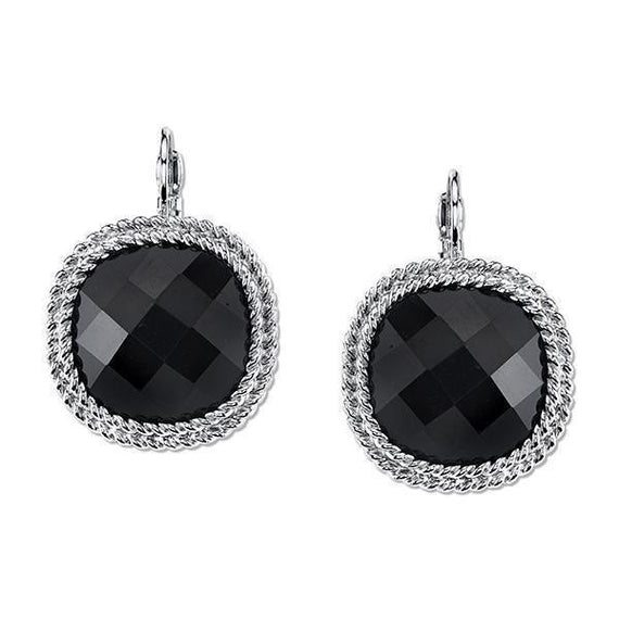Silver-Tone Black Large Faceted Leverback Drop Earrings
