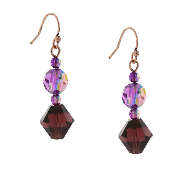 Burnished Copper Amethyst Ab Drop Earrings