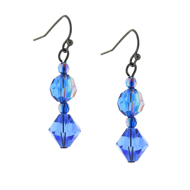 Jet Sapphire Blue Ab Drop Earrings
