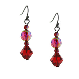 Jet Siam Red AB Drop Earrings