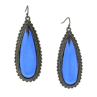Black Tone Sapphire Blue Extra Large Faceted Pearshape Drop Earrings