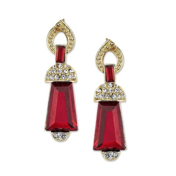 Gold Tone Red With Crystal Accent Drop Earrings