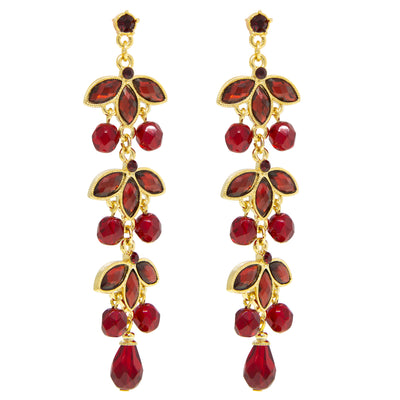 Gold-Tone Siam Red Navette Linear Drop Earrings