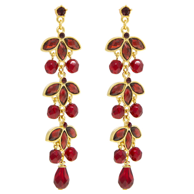 Gold Tone Siam Red Navette Linear Drop Earrings