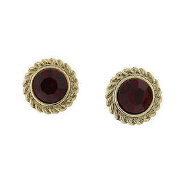 Fashion Jewelry - 2028 Windsor Gold Tone Siam Red Round Button Earrings
